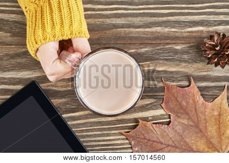 Cocoa Cup And Woman Hand, Autumn Leaves, Tablet Pc