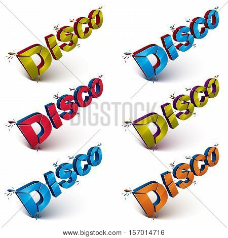 Set Of 3D Disco Words Broken Into Pieces, Demolished Vector Design Element. Shattered Art Stylish In