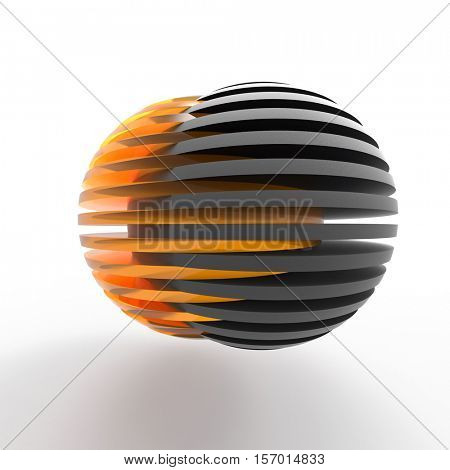 connecting sliced spheres, 3d illustration,