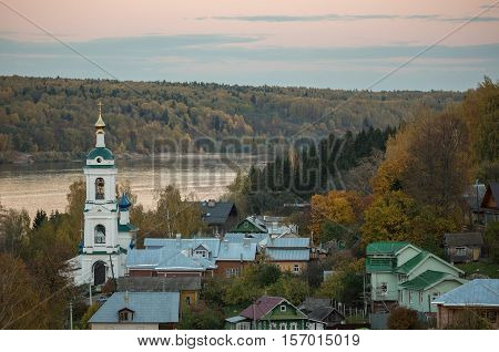 Autumn landscape of beautiful russian village Plyos