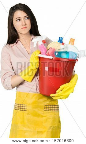 Young Charwoman Standing and Holding Accessories for Cleaning  - Isolated