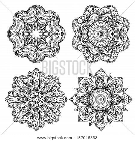 Set contour heathen round mandalas. Stained glass elements. Printing on T-shirts eelemnty for design. Coloring for adults