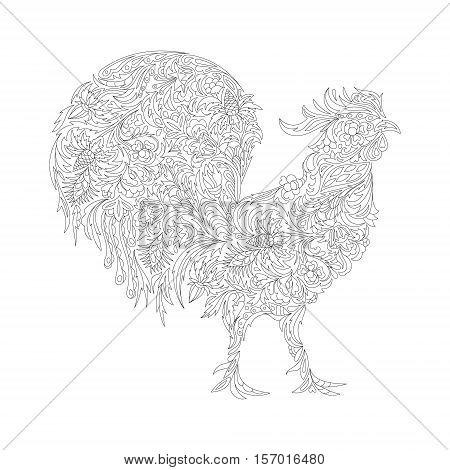 Vector illustration of rooster, symbol of 2017 on the Chinese calendar. Silhouette of cock, decorated with floral patterns. Vector element for New Year's design.