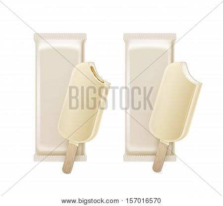 Vector Set of Bitten Popsicle Choc-ice Lollipop Ice Cream in White Chocolate Glaze on Stick with Filling with White Plastic Foil Wrapper for Branding Package Design Close up Isolated on Background.
