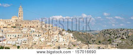 Matera (Basilicata Italy) scenic panorama and landscape