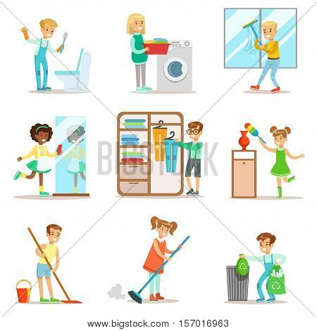Children Helping With Home Cleanup, Washing The Floor, Throwing Out Garbage, Washing Windows And Mirror. Kids Cleaning Indoors With Clean-Up Inventory For Housekeeping Set Of Vector Illustrations.