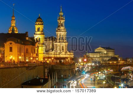 Dresden Cathedral of the Holy Trinity or Hofkirche, Bruehl's Terrace or The Balcony of Europe and Semperoper at night in Dresden, Saxony, Germany