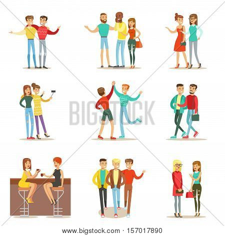 Happy Best Friends Having Good Time Together, Going Out And Talking Set Of Friendship Themed Illustrations. Smiling Cartoon Vector Characters Men And Women Spending Time With Their Buddies And Girlfriends.