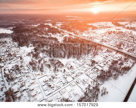 winter  in the countryside with a bird's-eye view