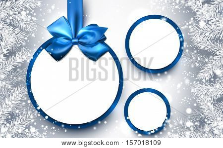 Round Christmas background with fir branches and blue bow. Vector illustration.