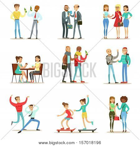 Happy Best Friends Having Good Time Together, Going Out And Talking Collection Of Friendship Themed Illustrations. Smiling Cartoon Vector Characters Men And Women Spending Time With Their Buddies And Girlfriends.