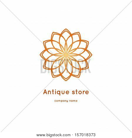 Luxury logotype for antique store. Ornamental vector symbols. Volumetric golden big bud. Isolated abstract colorful vector logo. Vector vintage mandala logo. Kaleidoscope flower.