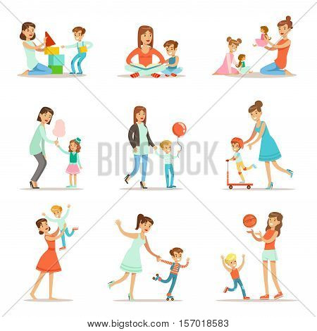 Loving Mother Playing And Enjoying Good Quality Mommy Time With Their Happy Children Set Of Cartoon Illustrations. Single Mom And Kid Smiling Flat Colorful Vector Characters Collection.