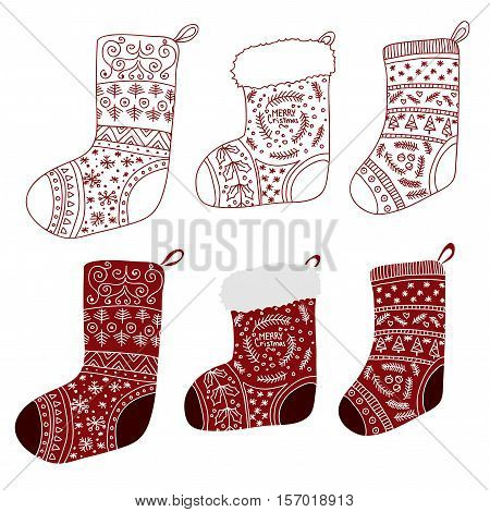 Vector Collection of Christmas red stockings. Stylized winter socks. Set of decorative Christmas stockings with ornaments. Merry Christmas.