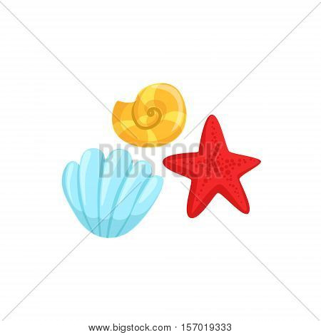 Three Different Underwater Organisms Set, Red Starfish, Yellow Shell And Blue Clam. Colorful Cartoon Sea Nature Vector Illustration On White Background.