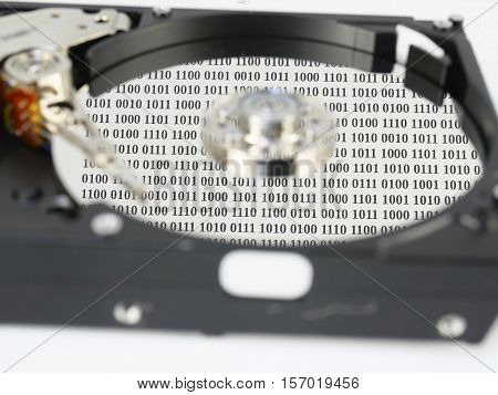 disc with data on a white background
