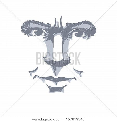 Hand-drawn Vector Illustration Of Irate Woman. Monochrome Image, Negative Expressions On Face Of You