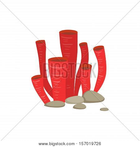 Red Soft Tube Coral Growing Underwater On The Bottom Marine Animal. Colorful Cartoon Sea Nature Vector Illustration On White Background.