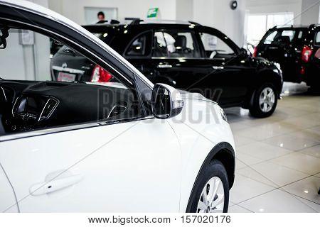 View of row new car at car dealership.