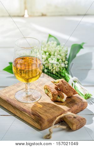 Sweet Cantuccini With Vin Santo On Old Wooden Table