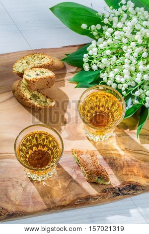 Sweet Cantuccini With Peanut On Old Wooden Table