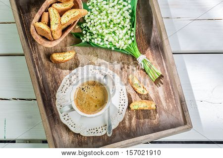 Delicious Cantucci With Espresso On Old Wooden Table