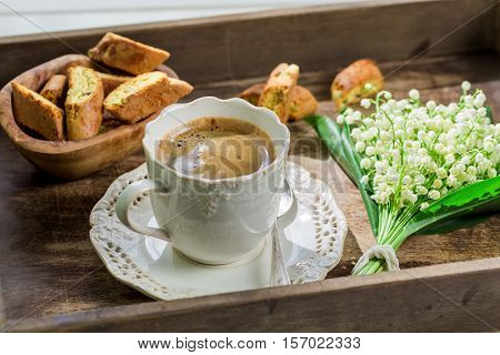 Sweet Cantuccini With Coffee On Old Wooden Table