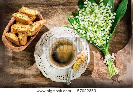 Sweet Cantuccini With Espresso On Old Wooden Table