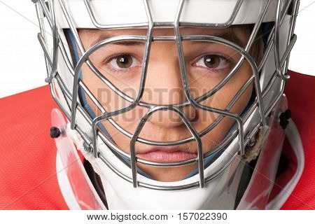 Portrait of Hockey Goalie Isolated on Transparent Background