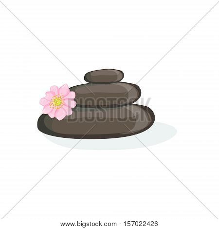 Zen Pyramid With Black Warm Massage Stones Element Of Spa Center Health And Beauty Procedures Collection Of Illustrations. Realistic Vector Objects Symbols Of Beautifying Treatments On White Background.