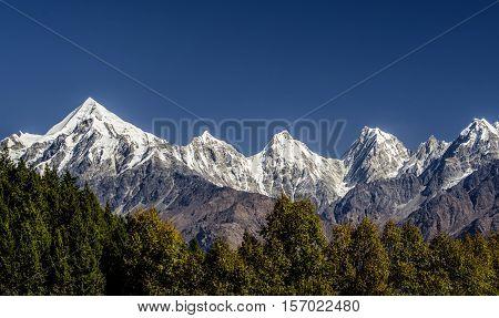 View of Panchachuli Peaks from Munsyri(Pithoragarh) Uttarakhand in India.