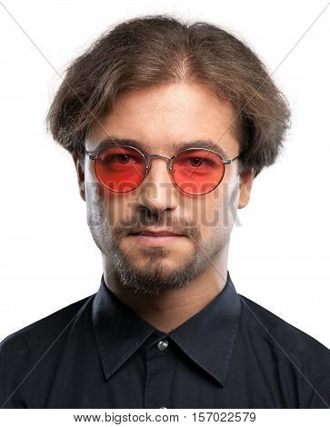 Portrait of a Man with Blank Expression and Hippie Glasses