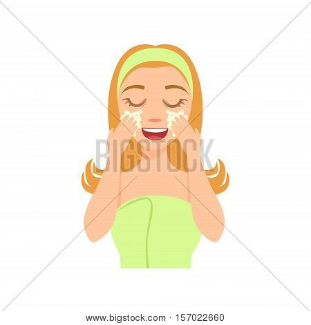 Girl Washing Her Face With Special Skincare Soap, Woman With Closed Eyes Doing Home Spa Procedure Illustration. Portrait Of Young Female Person Performing Beatifying Routine Herself In The Bathroom After Shower.