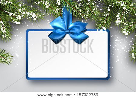 Christmas background with fir branches and blue bow. Vector illustration.