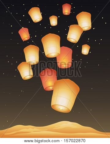 an illustration of traditional golden paper sky lanterns on a festival day with a dark starry sky and shimmering mountains