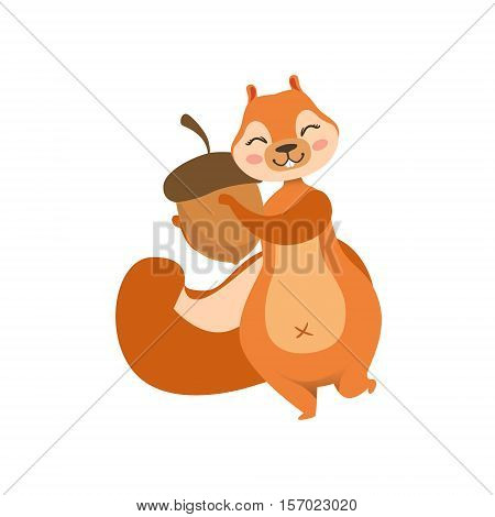 Red Squirrel Holding An Acorn Humanized Cartoon Cute Forest Animal Character Childish Illustration. Flat Vector Drawing With Woodland Fauna Animal In Funny Situation.