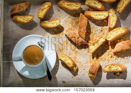 Italian Cantucci With Coffee On Old Wooden Table