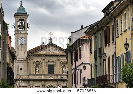 Saronno (Varese Lombardy Italy): church of Saints Peter and Paul built in 1783 in Libertà square and old buildings