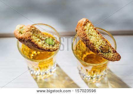 Italian Cantuccini With Peanut On Old Wooden Table