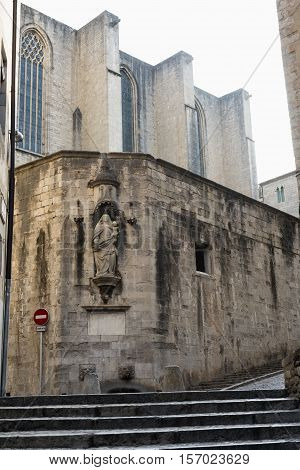 Girona (Gerona Catalunya Spain): old typical street and the cathedral in gothic style