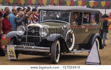 KOLKATA, INDIA - JANUARY 31, 2016: Studebaker vintage car rolls out from Fort William after flag off at vintage car rally and road show at Kolkata, India.