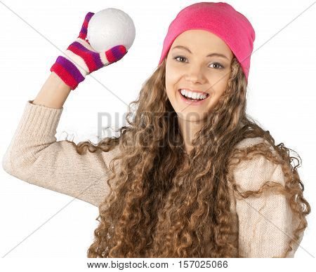 Young Woman About To Throw Snowball Close-up - Isolated