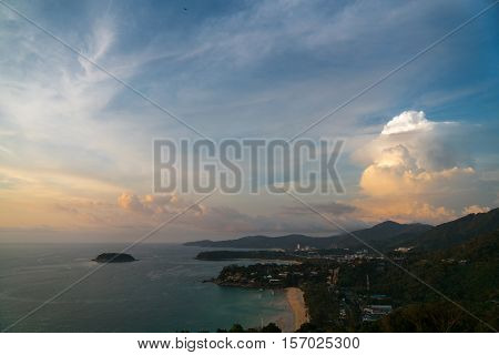 Heavenly landscape. Western coastline of Phuket island (beaches from closest: Kata Noi Kata Karon) Andaman sea Thailand.