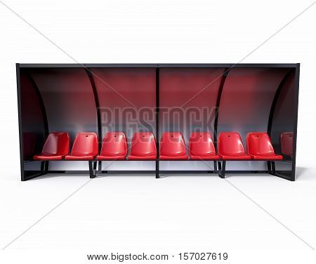 3D Isolated Football Soccer Bench. Sport Substitute Trainer.