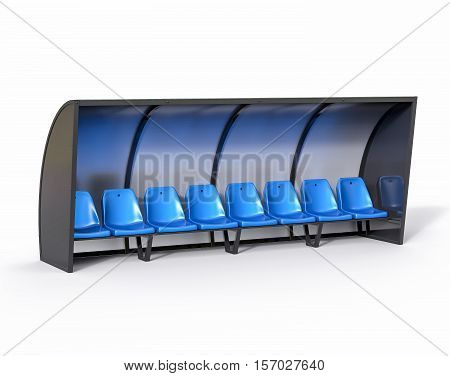3D Isolated Blue Football Soccer Bench. Sport Substitute Trainer.