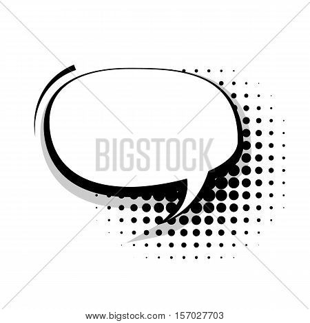 Blank template comic speech oval line bubble halftone dot background style pop art. Comic dialog empty cloud, space text style pop art. Creative composition idea conversation comic sketch explosion