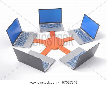 3D Isolated Network Lan Data Laptops. Information Teamwork Concept.
