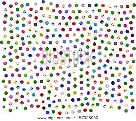 happy new year greeting card design with 365 different colorful smileys on white background