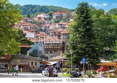METSOVO GREECE - SEPTEMBER 15 2016: Tourists visiting in Metsovo - town in Epirus on the mountains of Pindus in northern Greece