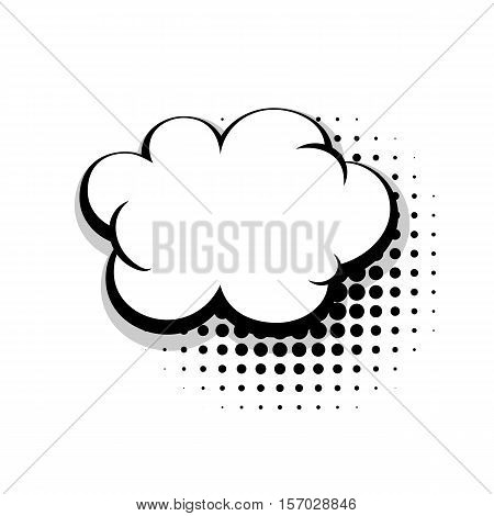 Blank simple template comic speech cloud bubble halftone dot background style pop art. Comic dialog empty cloud, space text style pop art. Creative composition idea conversation comic sketch explosion